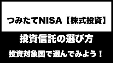 【つみたてNISA(株式投資)】投資対象国で選ぶ投資信託